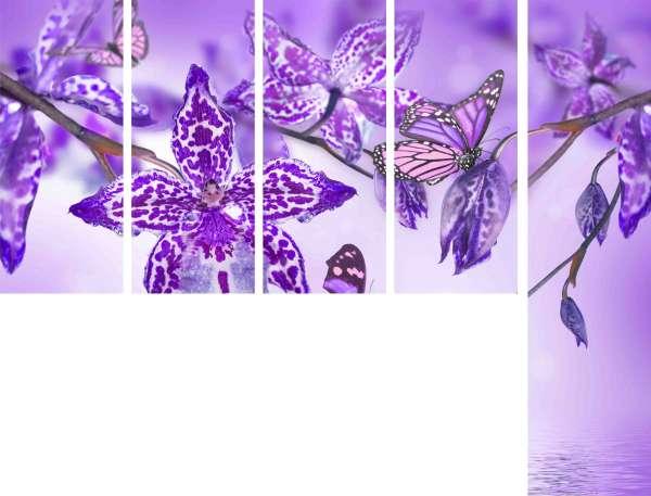"""Schiebegardine """"Violett Orchidee"""" / Gabardine / 4 Teile 145x60 cm + 1 Teil 245x60 cm"""