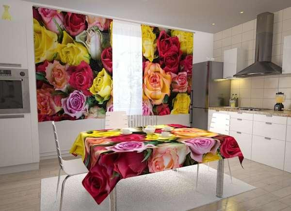 Küchen-Fotogardinen: BUNTE ROSEN