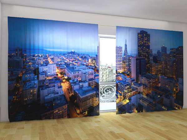 Panorama-Fotogardinen: SAN FRANCISKO BEI NACHT