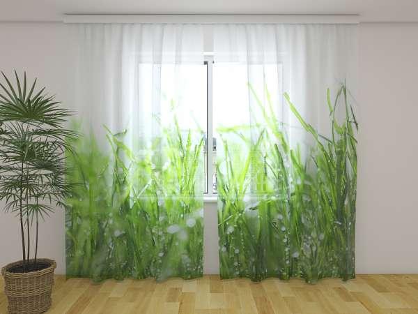Chiffon-Fotogardinen: FRISCHES GRÜNES GRAS