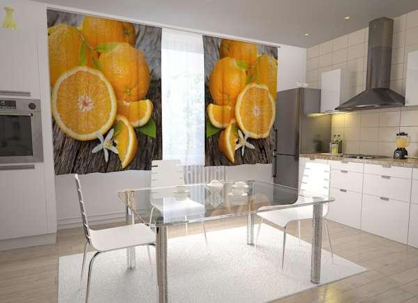 Küchen-Fotogardinen: FRISCHE ORANGEN