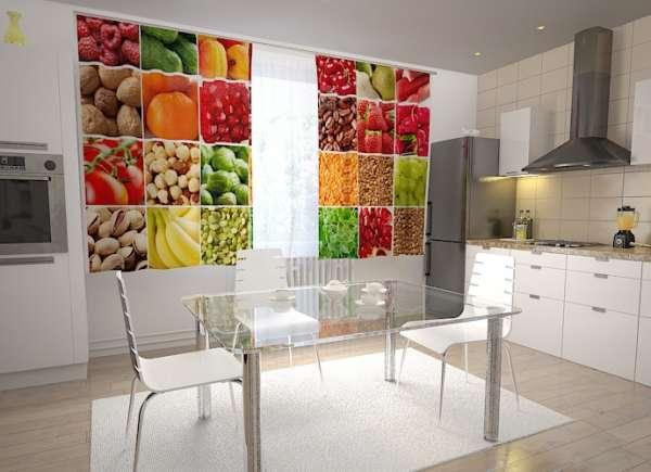 Küchen-Fotogardinen: OBST UND GEMÜSE COLLAGE 2