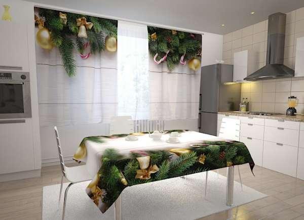 Küchen-Fotogardinen: GOLDENE WEIHNACHTSKLINGEL
