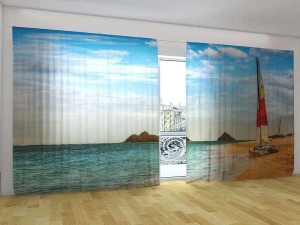 Panorama-Fotogardinen: SEGELBOOT AM STRAND