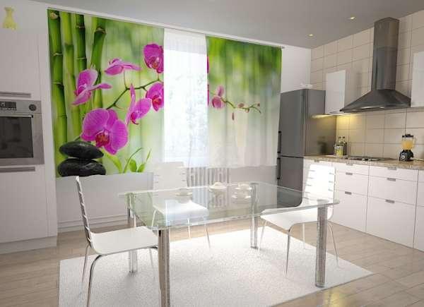 Küchen-Fotogardinen: LILAFARBENE ORCHIDEE