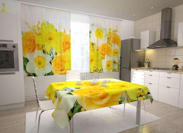 Küchen-Fotogardinen: ROSEN UND NARZISSEN