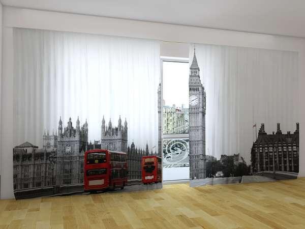 Panorama-Fotogardinen: ROTE BUSSE VON LONDON