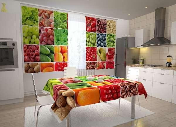 Küchen-Fotogardinen: OBST UND GEMÜSE COLLAGE 1