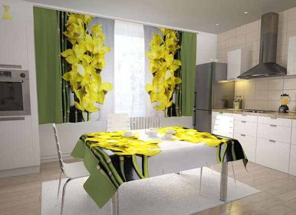 Küchen-Fotogardinen: GELBE ORCHIDEEN 2
