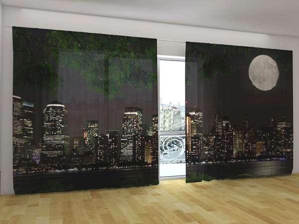 Panorama-Fotogardinen: MOND ÜBER MANHATTAN