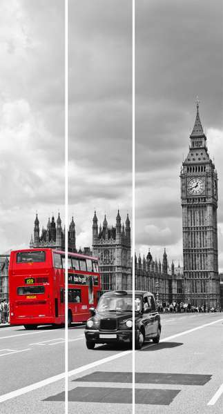 Schiebegardine RETRO LONDON / 3 Teile 50 x 235 cm / Überlappung: 2 x 13 cm / Paneelwagen: inklusive