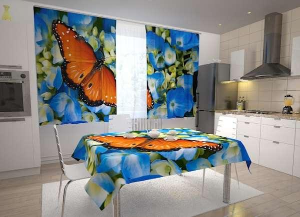 Küchen-Fotogardinen: SCHMETTERLING UND BLAUE BLUMEN