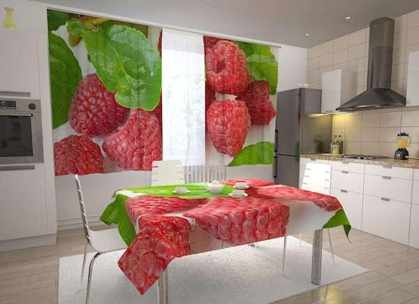 Küchen-Fotogardinen: HIMBEEREN