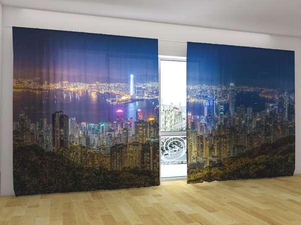 Panorama-Fotogardinen: NACHT IN HONGKONG