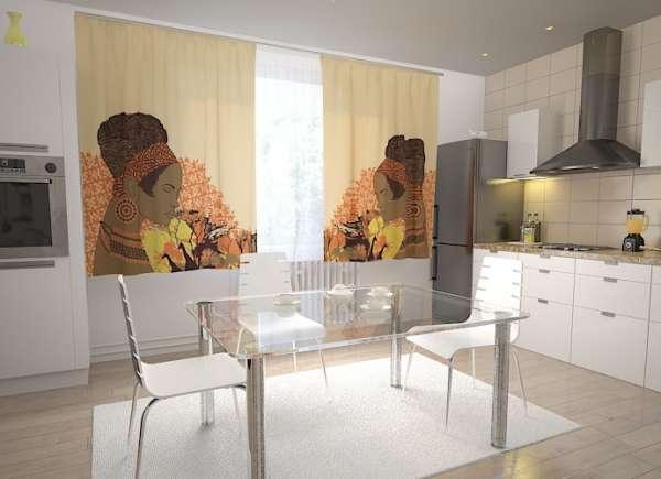 Küchen-Fotogardinen: AFRIKANISCHE FRAU
