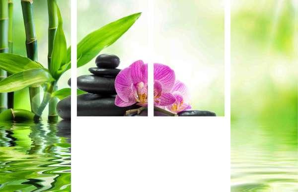 """Schiebegardine """"Orchideen und Steine am Wasser"""" 2x165x60 cm + 2x100x60 cm / Gabardine"""