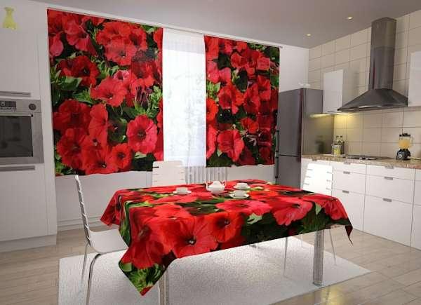 Küchen-Fotogardinen: ROTE PETUNIEN