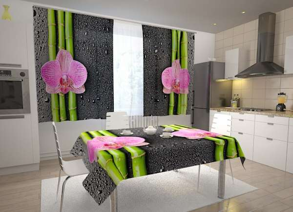 Küchen-Fotogardinen: ORCHIDEEN UND BAMBUS